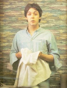 """""""Paul in his dressing room on the set of """"Help!"""" wiping off his Marcel Marceau makeup after a take."""" Photo by Mike McCartney"""