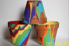 Dilly-Dali Art: Rainbow Pour Painted Pots  will try this with the grand girls this spring - outside!!