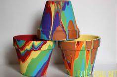 Dilly-Dali Art: Rainbow Pour Painted Pots