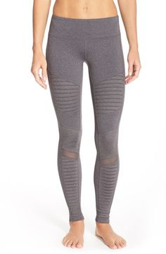 Alo Moto Leggings at Nordstrom.com. Slick and matte panels combine on lean leggings accented with quilted, moto-style patches and ventilating mesh.