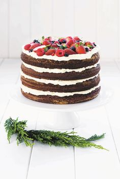 Chocolate and cream layer cake