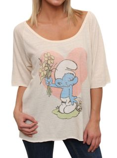 Smurfs I Give You Flowers Triblend Slouch Raglan   $19.00  www.junkfoodclothing.com