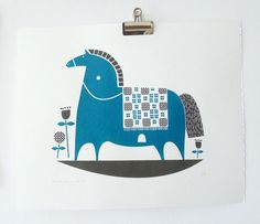 Rocking horse screenprint in teal and charcoal. $55.00, via Etsy.
