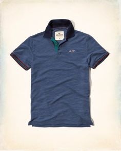 8162eeb7aaab New Hollister by Abercrombie   Fitch NWT Patterned Tipped Pique Polo  Navy  Color