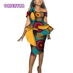 Image of Fashion Women African Dresses for Christmas Party Wedding Africa Wax Print Bazin Riche Sexy Slash Neck Bodycon Midi Dress Best African Dresses, Latest African Fashion Dresses, African Attire, African Print Clothing, African Print Fashion, Africa Fashion, African Clothes, Kente Dress, Traditional African Clothing