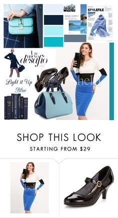 """Color-block blue"" by irinavsl ❤ liked on Polyvore featuring Head Over Heels"