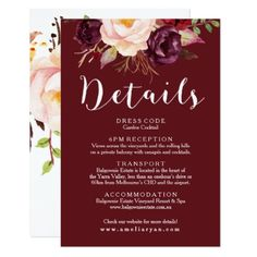 Floral Burgundy Background Wedding Details Card - floral style flower flowers stylish diy personalize