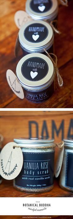 DIY Skin Exfoliation Scrubs ~ DIY Vanilla Rose Body Scrub Recipe and Tutorial + Printable Labels Body Scrub Recipe, Diy Body Scrub, Diy Scrub, Diy Beauté, Diy Spa, Homemade Scrub, Homemade Gifts, Soap Packaging, Bath Bomb Packaging
