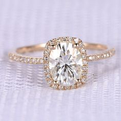 6x8mm Oval Cut 1.5ctw Moissanite and Diamond Engagement Ring 14K Rose Gold Cushion Halo Stacking Ring