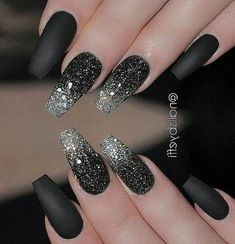 40 hottest and most attractive night black nails art (acrylic nails, matte nails) . 40 hippest and most attractive night black nails art (acrylic nails, matte nails) . - - # acrylic nails # most popularInformations About 40 angesagte Black Acrylic Nails, Black Nail Art, Acrylic Nail Art, Acrylic Nail Designs, Nail Art Designs, Nails Design, Matte Black Nails, Black Nails With Glitter, Coffin Nail Designs