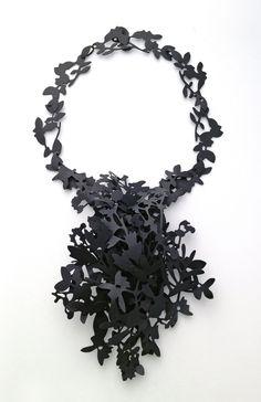 Necklace | Helen Shirk.  Mild steel, patina