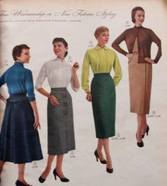 1950s pencil skirts also called sheath or hobble skirts