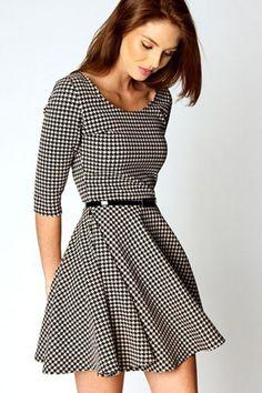 Round Neck Half Sleeve Plaid Vintage One-piece Dress, #Wendybox