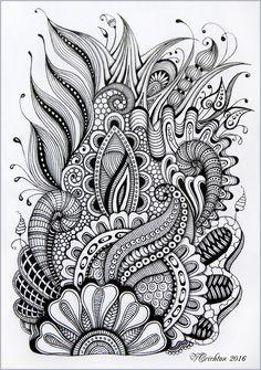 Viktoriya Crichton_Ukraine Nikolaev_Zentangle, graphic, hand-made, pattern, tangle,  abstract ,design, graphic, monochrome, blackandwhite, zentangle inspired,  zenart, artdrawing, artnet, Drawing Illustration, gelpen, painting, drawing, artwork, zentangle art