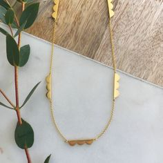 Scalloped Chain Necklace by Leila Swift, the perfect gift for Explore more unique gifts in our curated marketplace. Handmade Necklaces, Handmade Items, Arrow Necklace, Gold Necklace, Necklace Lengths, Unique Gifts, Plating, Delicate, Chain