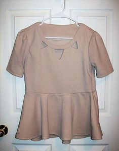 Vintage 90s Ladies Beige Cut Out Scoop Neck Top Peek a Boo Blouse w/ Peplum Small Only 7 USD by SusOriginals on Etsy https://www.etsy.com/listing/566305429/vintage-90s-ladies-beige-cut-out-scoop