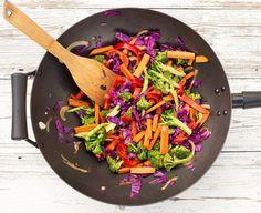 rainbow stir fry in a wok