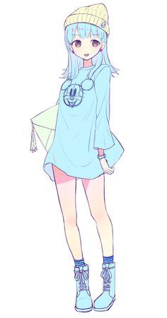 Ce t-shirt long ferait un parfait pyjama... Mais ce n'en est pas un vu qu'elle porte un bonnet