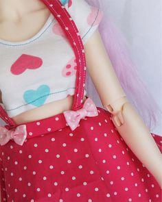 SD BJD clothes Pink heart print Crop Top T shirt by MonstroDesigns