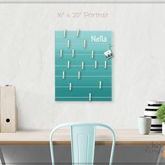 A beautiful way to display your cards and memos and decorate any room. This display board can be hanged in a dorm, kids room, teens room, office, kitchen, family space and more. Personalization option. 10 design options. Hand painted canvas with wooden clothespins. #giftforher #Bulletinboard #cardsdisplay #tealombre #ombre #teal #tealroomdecor #girlsroom #giftforgirl #teensroom #officeorganizer #memoholder #homeorganizer #personalizedgift #giftforteens #freeshipping #christmasgift…