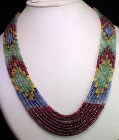 7 Strands Natural Ruby Emerald Sapphire 346ct Multi Row Gemstone Beads Necklace #krishnagemsnjewels #StrandString