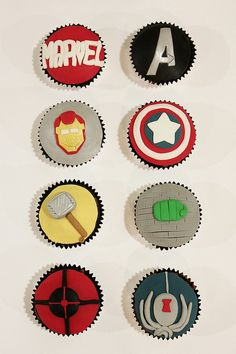Delicious looking, #Avengers-inspired cupcakes by punkshimmy.