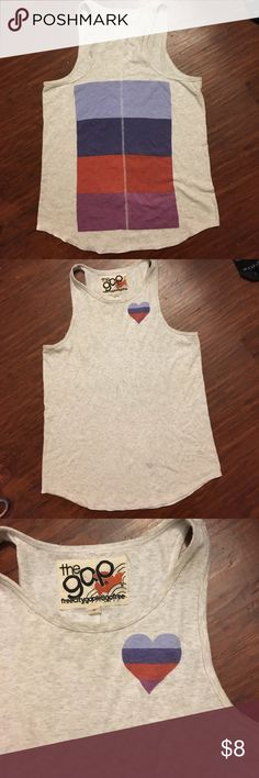 Grey gap tank with colorful Stripe and heart Grey gap tank with colorful Stripe and heart GAP Tops Tank Tops