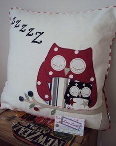 Owl Cushion - Zzzzzzzzz (in Reds Navy) £35.00