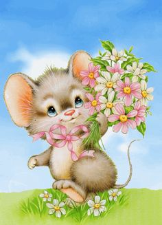 souris fleurs Postcard Sweet little mouse Vintage Cards, Vintage Postcards, Vintage Images, Illustration Mignonne, Cute Illustration, Cute Images, Cute Pictures, Animal Drawings, Cute Drawings