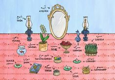"""Happy Persian New Year. Nowruz is on the day of the vernal equinox, celebrating the return of spring. For the holiday, Persian peoples display a Haftsin table, which is decorated with seven symbolic items that start with the Persian letter """"seen."""" Eid Mubarack! Illustration by Yasmine Molavi"""