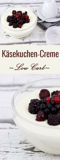 Low Carb Käsekuchen-Creme im Glas mit Waldbeeren und Xucker Xylit/Birkenzucker . Low carb cheesecake cream in glass with wild berries and Xucker xy. Healthy Low Carb Recipes, Low Carb Dinner Recipes, Low Carb Desserts, Diet Recipes, Tofu Recipes, Snacks Recipes, Chicken Recipes, Low Carb Pizza, Low Carb Keto