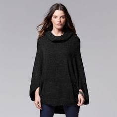 Black Color Block Shawl Collar Poncho Sweater | Cute clothes to ...