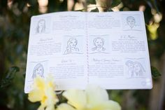 illustrated 'who's who' of the bridal party in the program of this DIY wedding