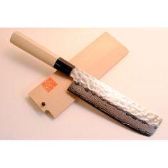 "YOSHIHIRO- NSW Hammered Damascus Chef Knife Usuba Knife 6.3"" 160mm - MADE IN JAPAN: Amazon.com: Kitchen & Dining"