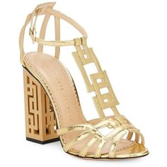 Charlotte Olympia Geometric Cutout-Heel Metallic Leather Sandals ($585) ❤ liked on Polyvore featuring shoes, sandals, ankle strap shoes, ankle tie sandals, cut out sandals, block heel shoes and cushioned sandals #charlotteolympiaheelsmetallicleather