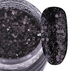 1 Box 10g Glitter Paillette Black Sparkly Mixed Nail Sequins Manicure Nail Art Decoration