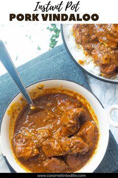 Easy Indian pork vindaoo recipe. Made in the Instant Pot, this recipe for goan pork vindaloo curry is easy and delicious! #pork #vindaloo #easycurryrecipe #porkcurry #instantpot Healthy Indian Recipes, Indian Chicken Recipes, Easy Meat Recipes, Lentil Recipes, Curry Recipes, Easy Meals, Best Instant Pot Recipe, Instant Pot Dinner Recipes, Pressure Cooker Pork