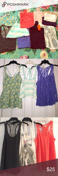 Lot of 11 tanks and camis 11 Assorted tanks and camis, all in excellent condition and barely worn with no flaws. Assorted sizes (I'm a size 4 and they all fit). Feel free to ask questions. Brands include: Nollie, Kira, Hollister, American Eagle, Hurley, Sonoma, Joe Fresh and camis are ambiance apparel and F21 Hollister Tops Tank Tops