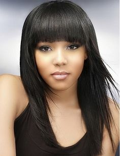 Nice Long Hair Black Styles Blowout Hairstyles, 1940s Hairstyles, Long Hairstyles, Full Fringe Hairstyles, Beautiful Hairstyles, Short Black Hairstyles, African American Hairstyles, Latest Hairstyles, Layered Hairstyles