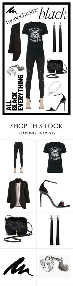 """""""Untitled #346"""" by scaniapower ❤ liked on Polyvore featuring Yves Saint Laurent, Adaptation, WithChic, Elizabeth and James, Eddie Borgo and allblackoutfit"""