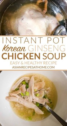 Instant Pot Korean Ginseng Chicken Soup (Samgyetang) - This Instant Pot Korean Ginseng Chicken Soup with Sweet Rice (Samgyetang 삼계탕) is a delicious and healthy soup. It features a whole chicken stuffed with sweet rice, ginseng, ginger, garlic, and jujube. Full recipe at AsianRecipesAtHome.com #koreanrecipe #chickensouprecipes #instantpotrecipes #soup #ginseng #healthyrecipes