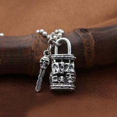 """Men's Sterling Silver Skull Key and Lock Necklace with Sterling Silver Bead Chain 18""""-30"""""""