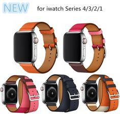 00d764aa56d For Apple Series 4 Double Tour Watchbands Genuine Leather Strap Wrist Watch  Band For Apple Watch 1 2 3 4 herm Bracelet 40mm 44mm