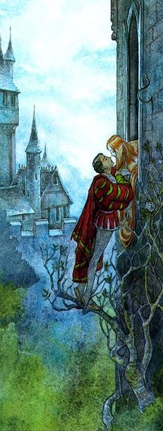 not this specifically, but in general someone climbing a tree for smooching. in a fairytale adventure, obvs (Rapunzel - PJ Lynch)