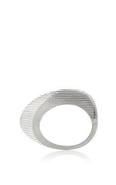 Lamellae Bangle In Silver by GEORG JENSEN X ZAHA HADID for Preorder on Moda…