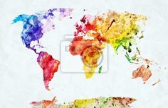 Wall Mural watercolor world map.  (This site has tons of other map decals also.)