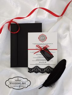 Stunning Spanish wedding invitation, finished off with black lace, red satin ribbon, tag and pearl gem.