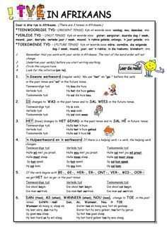 Tye in Afrikaans 1st Grade Worksheets, Preschool Worksheets, Reading Worksheets, Language Lessons, Speech And Language, Teaching Aids, Teaching Resources, School Resources, Afrikaans Language