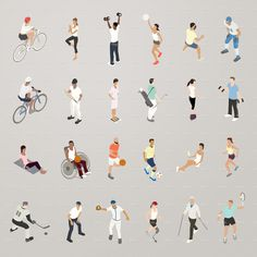 This detailed set of 24 icons is illustrated in a flat vector style. - Icon People - Ideas of Icon People - Sports and Fitness People Flat Icons Illustration Architecture People, Architecture Drawings, Flat Icons, Character Illustration, Illustration Art, Render People, Sports Drawings, Photomontage, Illustrations And Posters