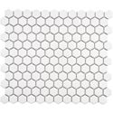 SomerTile 11x12-in Victorian Hex 1-in White Porcelain Mosaic Tile (Pack of 10) | Overstock.com